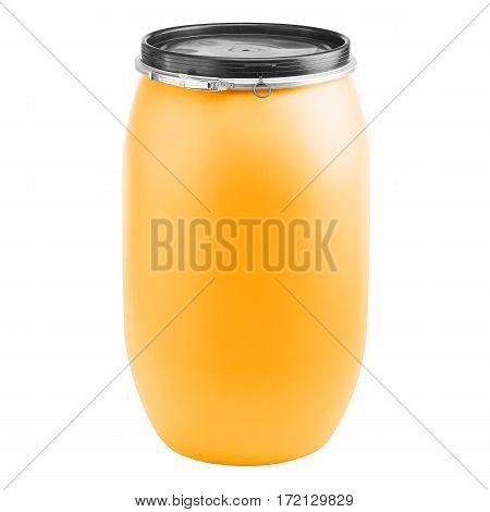 Plastic Storage Drum. Big Orange Barrel Isolated On White Background