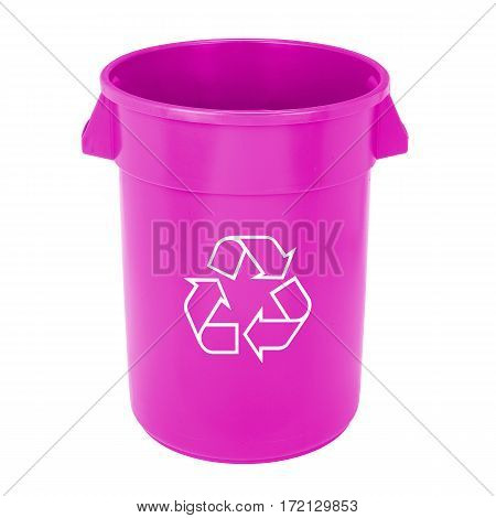 Purple Recycle Bin Isolated on White Background