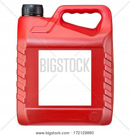 Red Plastic Jerry Can Isolated on White Background. Fuel Can. Emergency Backup Tank