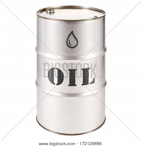 Stainless Steel Oil Barrel Isolated on White Background. Black Gold. Storage Drum