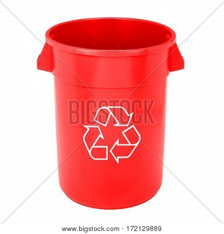 Red Plastic Recycle Bin Isolated on White Background