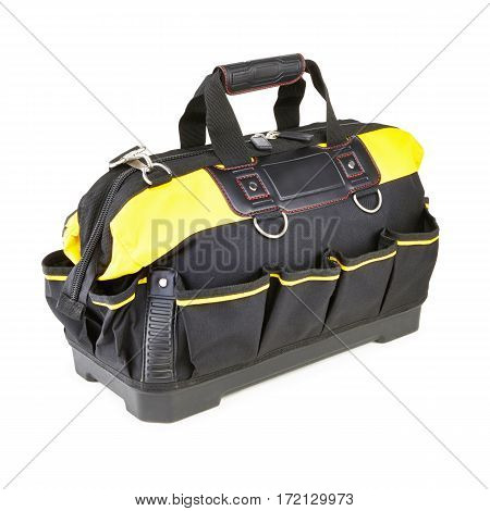 Tool Bag With Molded Base Isolated On White Background. Tool Kit. Tool Box. Clipping Path. Black And