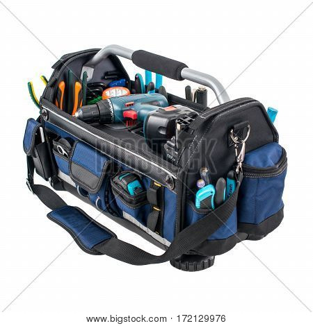 Tool Bag Isolated On White Background. Tool Kit. Tool Box. Clipping Path