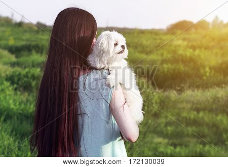 Beautiful Girl With A Young Dog Enjoying Golden Sunset