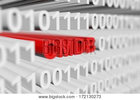 cmdb as a binary code with blurred background 3D illustration