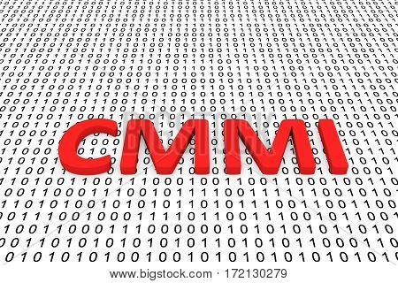 cmmi in the form of binary code, 3D illustration