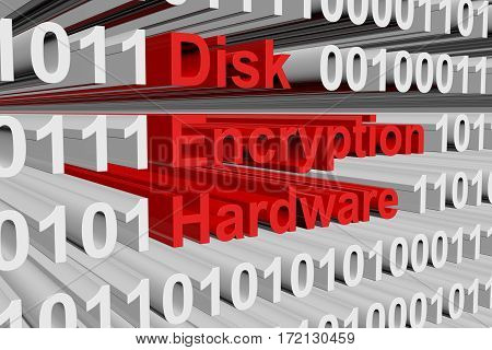 disk encryption hardware in the form of binary code, 3D illustration