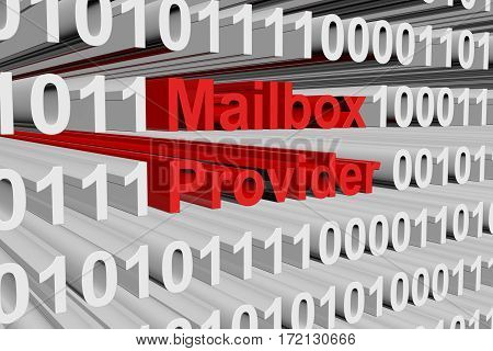 mailbox provider in the form of binary code, 3D illustration