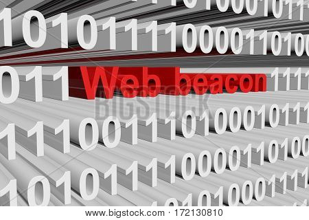 web beacon in the form of binary code, 3D illustration