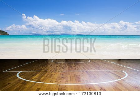 Image of basketball court with sea background