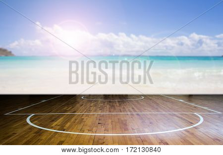 Abstract basketball court with sea beach background