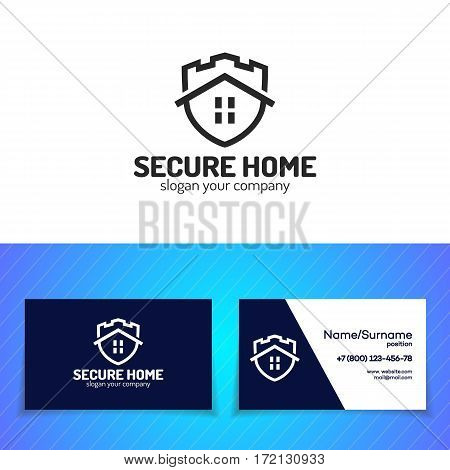 Secure home logo set. Shield, guard, protection, safe and security logo for your business. Vector Illustration