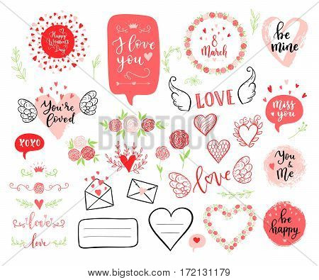 Vector Hand Drawn Fashion Elements For Happy Womens Day, Wedding. Labels, Speech Bubble, Heart, Arra