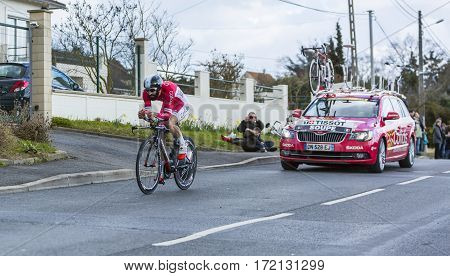 Conflans-Sainte-HonorineFrance-March 62016: The French cyclist Geoffrey Soupe of Cofidis Team riding during the prologue stage of Paris-Nice 2016.