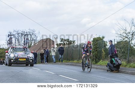 Conflans-Sainte-HonorineFrance-March 62016: Image of the Dutch cyclist Roy Curvers of Giant-Alpecin Team riding during the prologue stage of Paris-Nice 2016.