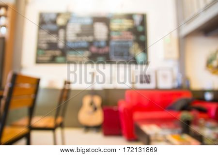 Abstract blurred modern restaurant interior vintag style