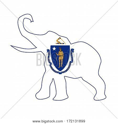 The Massachusetts Republican elephant flag over a white background