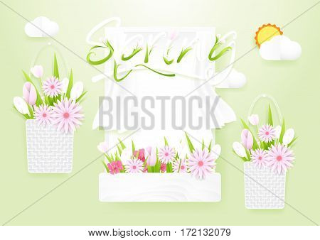 Spring season concept. Window with flowers baskets on cloud and sun background. paper art style design