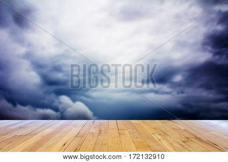Image of strom cloud with wooden floor