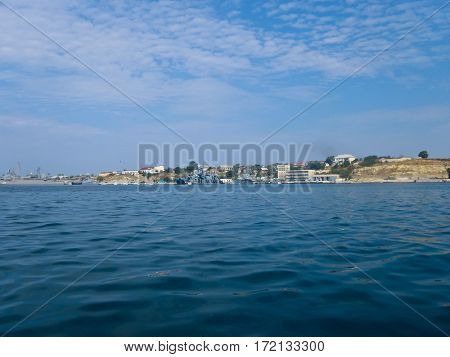 Sevastopol, Crimea, Ukraine - August 28 2013: Black Sea Fleet warships on the Sevastopol Bay