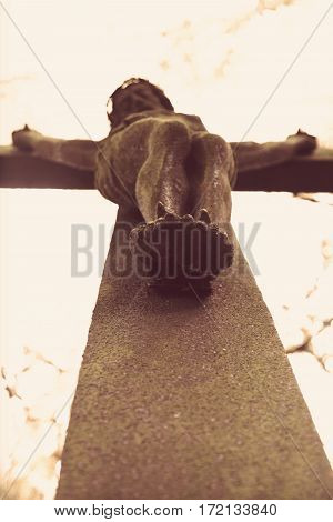 the crucifixion of Jesus Christ as a symbol of God's love for mankind (Bottom view)