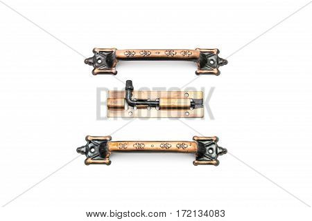 Close up door handles on white background