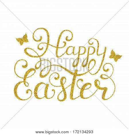 Golden Happy Easter inscription on white background. Calligraphy font style. Vector illustration.