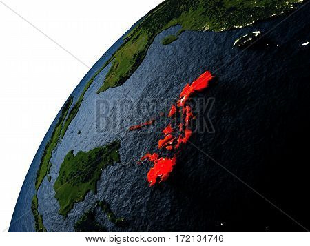 Philippines In Red On Earth At Night