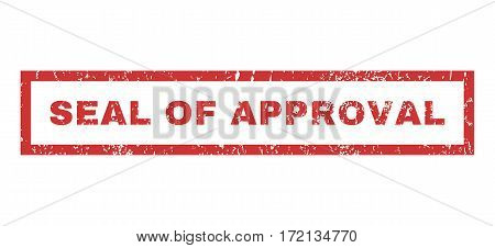 Seal Of Approval text rubber seal stamp watermark. Tag inside rectangular banner with grunge design and unclean texture. Horizontal vector red ink emblem on a white background.