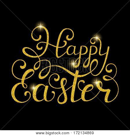Golden Happy Easter inscription on black background. Calligraphy font style. Vector illustration.
