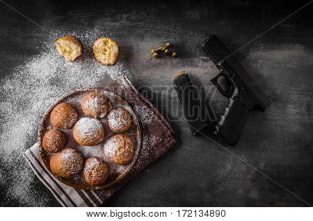 Homemade Donuts With Sugar And Gun