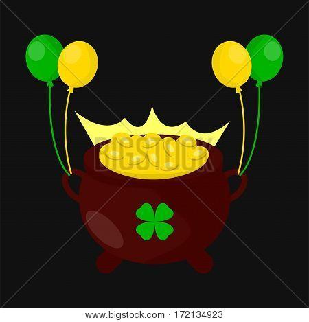 Gold coins pot for Saint Patrick day. Irish holiday symbol of leprechaun treasure cauldron. Traditional Ireland celebration feast vector icon