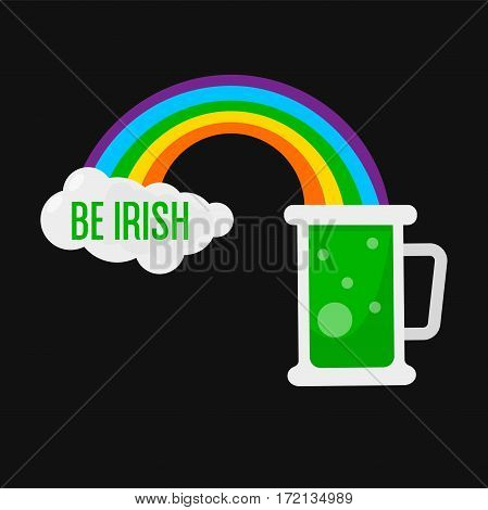 Green ale beer mug for Saint Patrick day. Irish holiday symbol of rainbow and cloud message. Traditional Ireland celebration feast vector icon