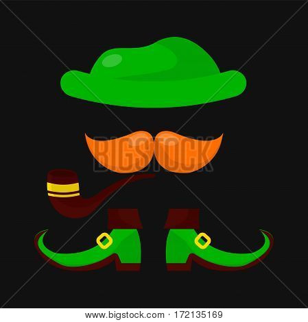 Leprechaun clothing for Saint Patrick day. Irish holiday symbol of elf green hat, shoes, red mustaches and smoking tobacco pipe . Traditional Ireland celebration feast vector icon