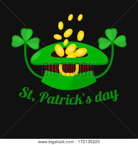Gold coins in leprechaun hat with clover for Saint Patrick day. Irish holiday symbol of elf treasure and four-leaf shamrock. Traditional Ireland celebration feast vector icon