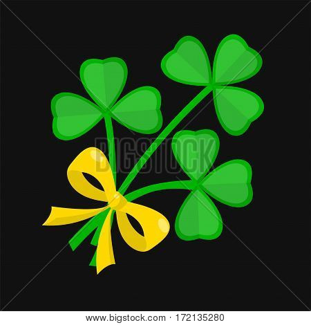 Shamrock clover leaf bunch tied with golden bow for Saint Patrick day. Irish holiday feast vector symbol for traditional Ireland celebration