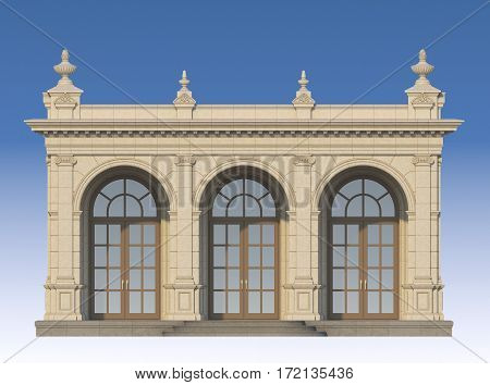 arcade from a stone with ionic pilasters. 3d render