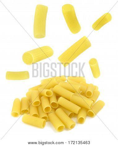 Rigatoni pasta flying isolated on white background