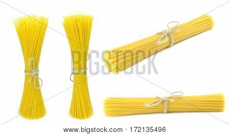 Spaghetti tied , vertical and horizontal, isolated on white background
