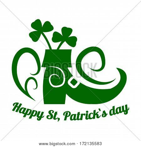 Saint Patrick day symbol of Leprechaun shoe and four-leaf clover leaf or lucky shamrock. Irish holiday traditional logo design element for vector greeting card or celebration feast text template