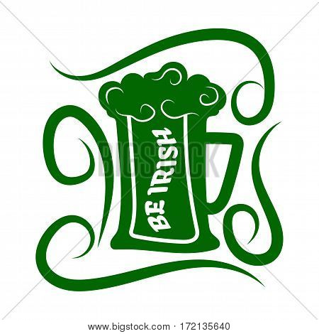 Saint Patrick day symbol of green ale beer mug. Irish holiday traditional logo design element for vector greeting card or celebration feast text template