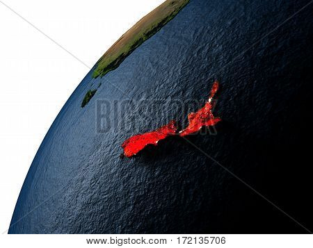 New Zealand In Red On Earth At Night