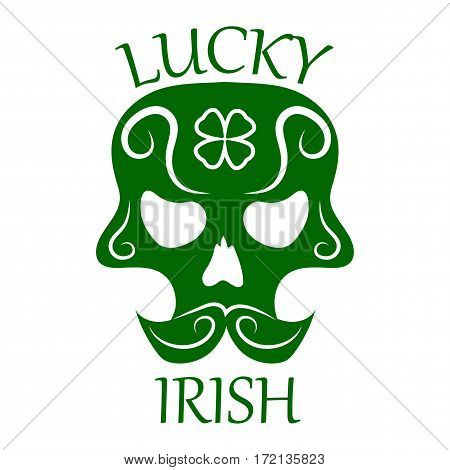 Saint Patrick day symbol of skull with mustaches and four-leaf clover leaf or lucky Irish shamrock. Ireland traditional logo design element for vector greeting card or celebration feast