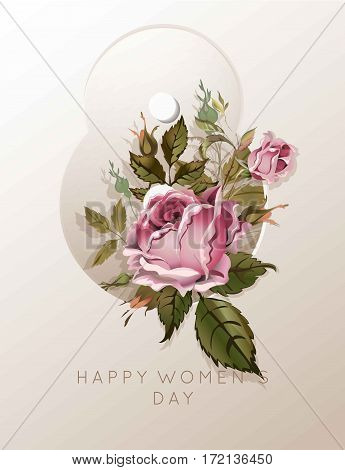8 March pink rose flower bouquet for greeting card template. Happy Women Day Vector vintage illustration in shape of number eight