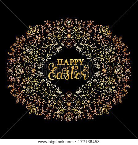 Hand drawn floral wreath with flowers, eggs and other elements. Easter card. Vector illustration.