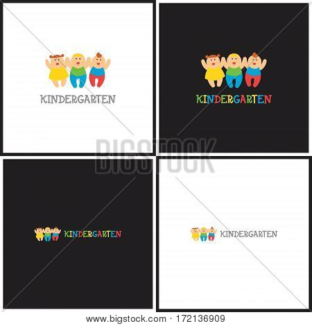 Vector eps logotype or illustration showing children education center with three kids