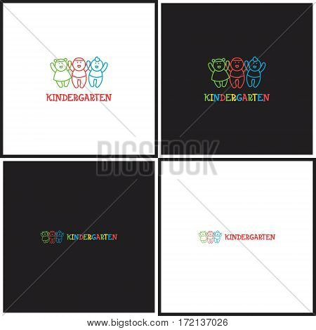 Vector eps logotype or illustration showing children education center with three kids in outline style