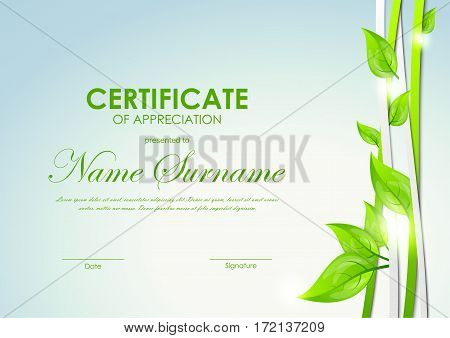 Certificate of appreciation template with green and gray dynamic interweaving lines and leaves. Vector illustration