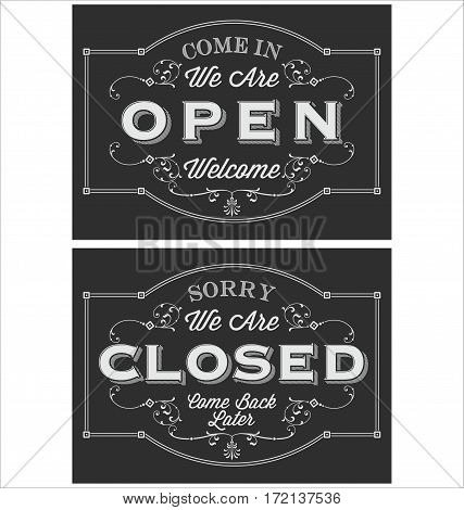 Open Closed Chalkboard Vintage Door Sign for Restaurants