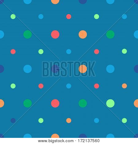 Polka dots seamless pattern with different colors dots on blue background. Can be used for wrapping paper, fabric. Vector illustration